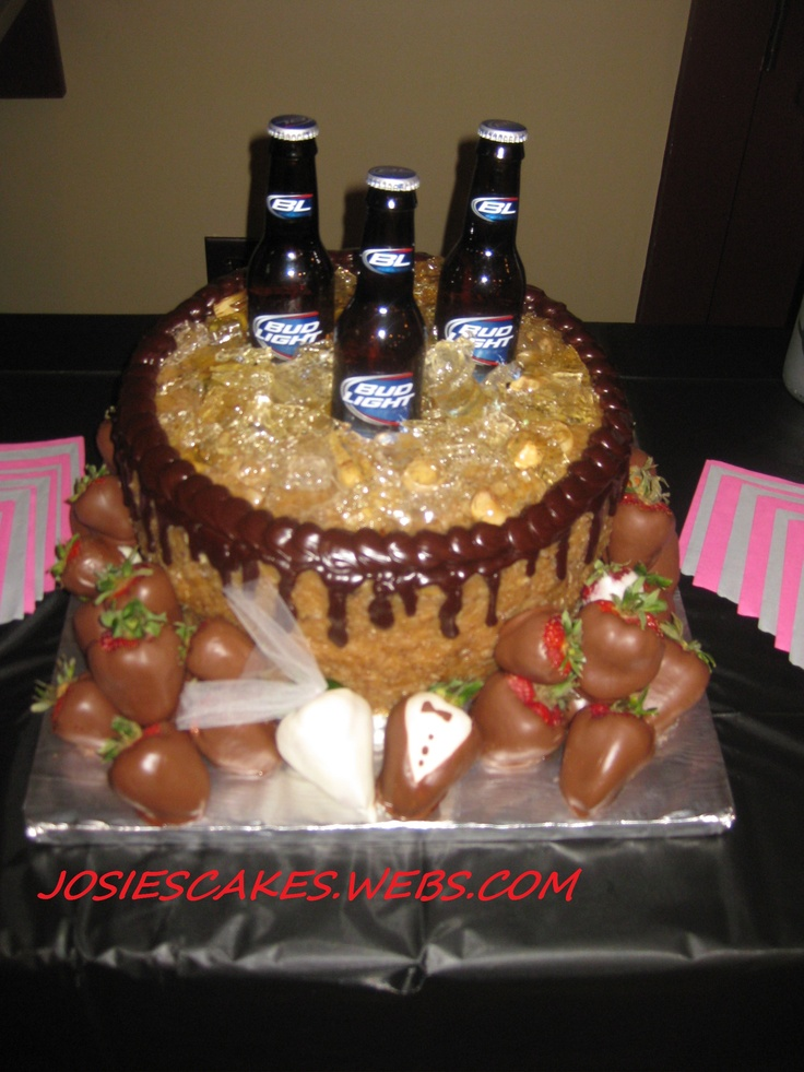 Decorating Ideas For German Chocolate Cake : Grooms German chocolate Bud light cake! Wedding cakes ...