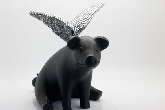 ... Wings - Sitting. Winged Pig. Pig with Wings. When Pigs Fly. Pig Statue