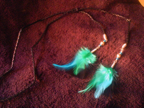 Turquoise & Black Feather Adjustable Y Necklace by ElementalKarma, $16.00