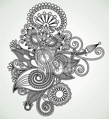 Indian Mural Art Designs : Wall Mural Hand draw line art flower design. Ukrainian style.