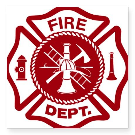 Maltese cross fire dept red square sticker 3 quot x 3 quot on