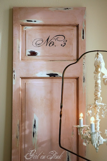 DIY: Distressed Salvaged Door - tutorial on how to get this look, including colors.