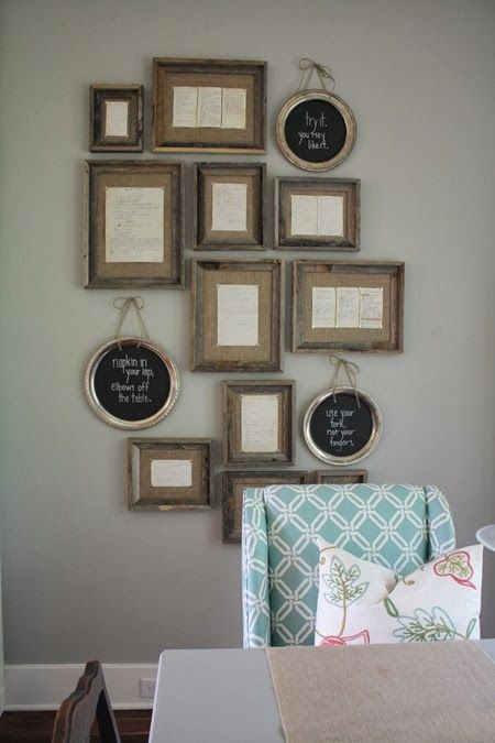 Kitchen: framed vintage family recipes with weathered frames from hob lob