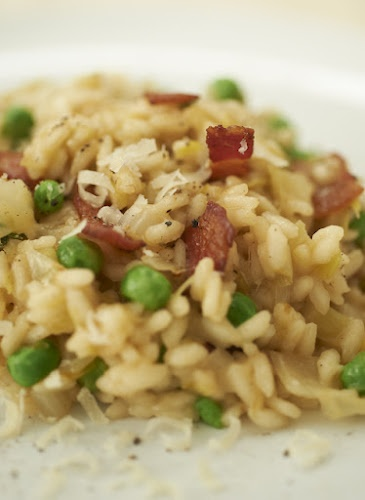 Bacon, leek and pea risotto | Just Food | Pinterest