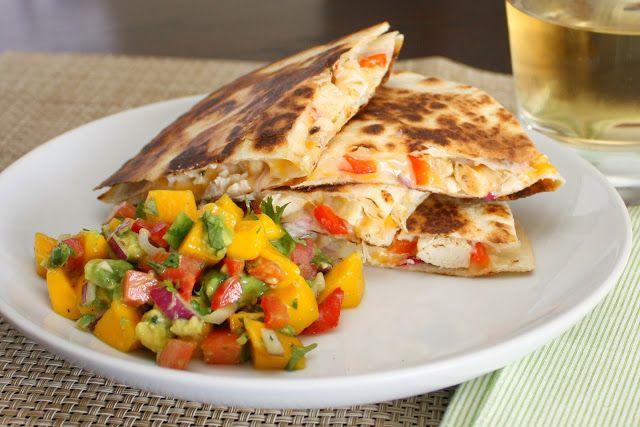 APPLE A DAY: Tropical Chicken Quesadillas with Mango-Avocado Salsa