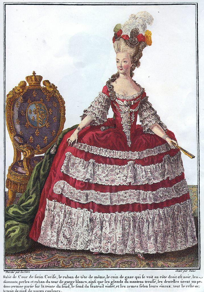 Гравюра королева Мария-Антуанетта Франции и Наварры, в Галерее режимов DES.  C.  1779 Desine номинальной Пьер Томас Ле Клерк (ок. 1740-ок. 1796), могила номинальной Чарльз Эммануэль Patas (1744-1802)