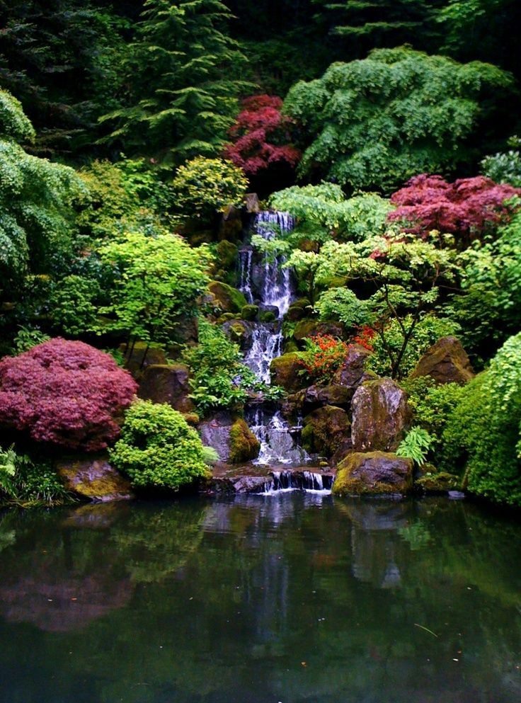 Japanese gardens waterfall pinterest for Garden waterfall