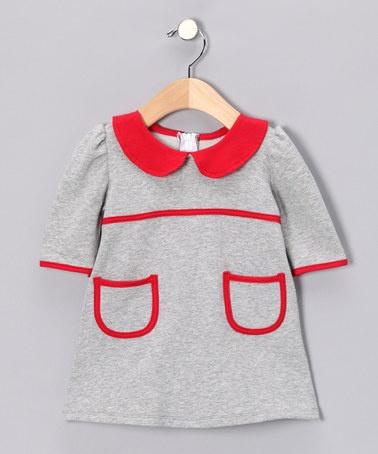 Gray & Red Dress