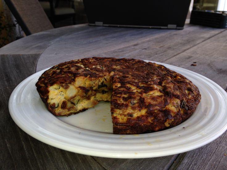 Spanish Tortilla With Broccoli, Chorizo, And Onion Recipe — Dishmaps
