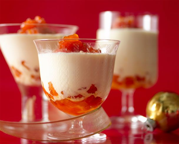 Eggnog Mousse with Brandied Apricots: Recipes + Menus : gourmet.com