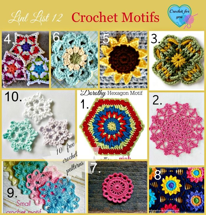 Crochet Motifs free patterns link list Hooked On The Needle Pinte ...