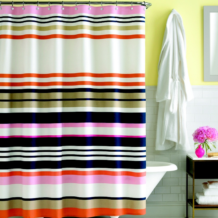 Kate Spade candy shop stripe shower curtain. One of our faves
