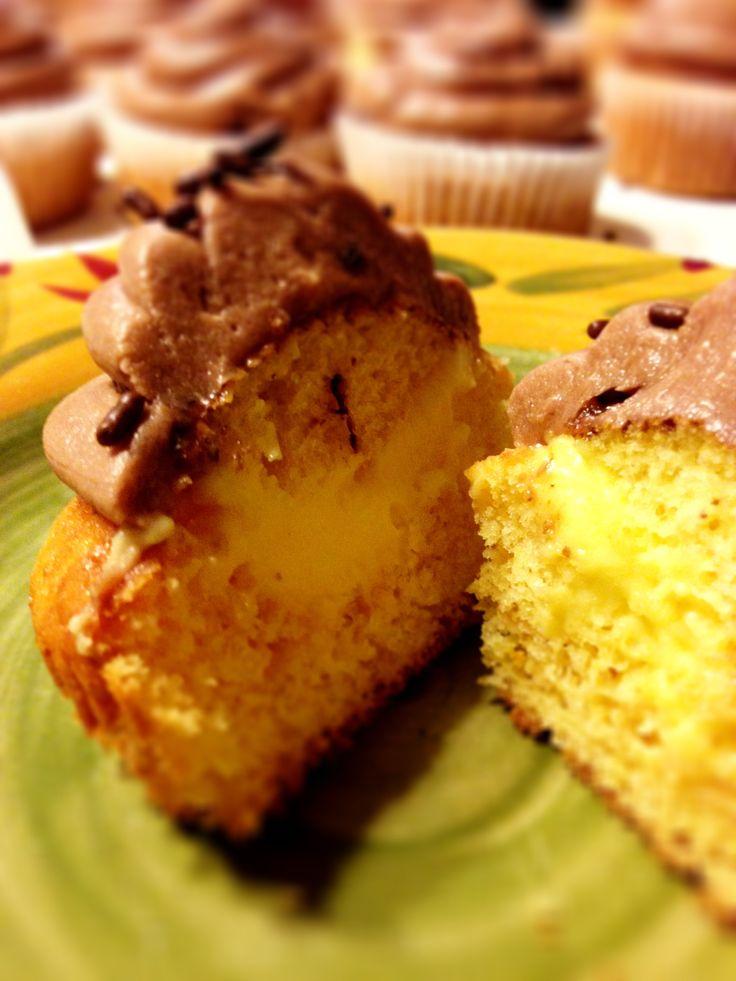 Boston Creme Pie Cupcake   food   Pinterest