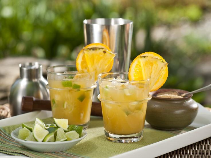 Orange Mojito (1 lime, diced 6 fresh mint leaves 1 tsp. raw sugar ...