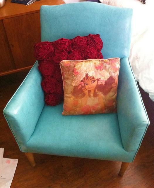 Turquoise vinyl chair