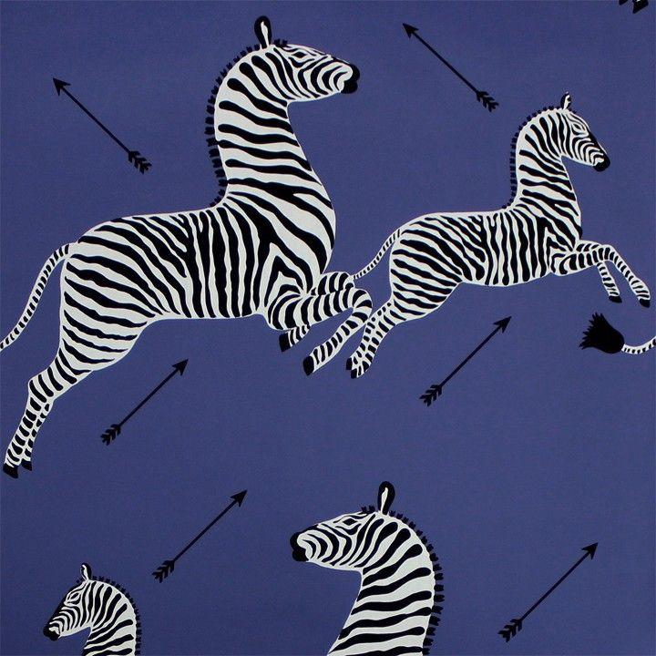 Scalamandre Zebras Wallpaper Denim