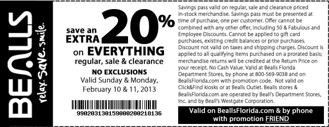 Bealls outlet coupons november 2018