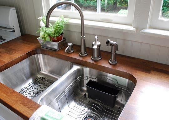 undermount sink, butcher block countertops