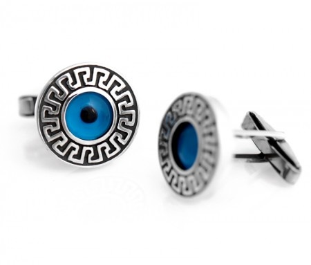 silver greek evil eye cufflinks unique evil eye jewelry and charm d. Black Bedroom Furniture Sets. Home Design Ideas