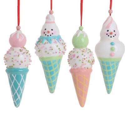 RAZ Pastel Ice Cream Cone Christmas Ornament Set of 4    4 Assorted styles  Set includes one of each style   Multicolor pastels - pink, green, blues, yellow  Made of Styrofoam  Measures