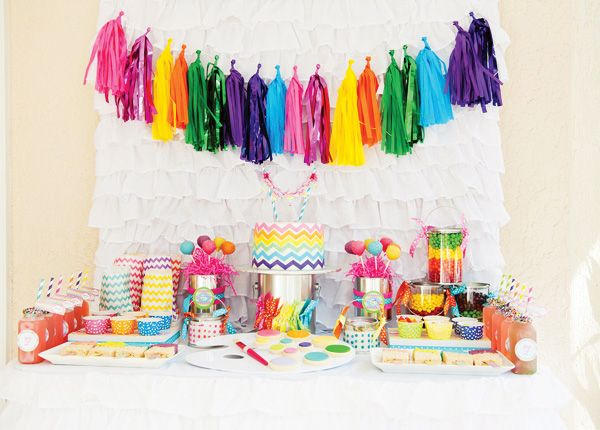 Rainbow + Chevron Arts and Crafts Party // Hostess with the Mostess®  Colorful rainbow party ideas and inspiration-- invitations, decorations, party favors, cake, cupcakes, dessert table, candy buffet, printables