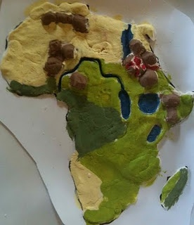salt dough map of Africa (with link to great Africa study ideas for kids)
