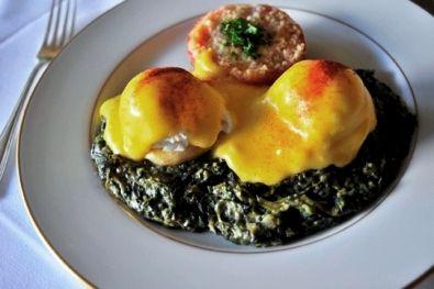 Eggs Sardou-poached eggs on fresh artichoke bottoms over creamed ...
