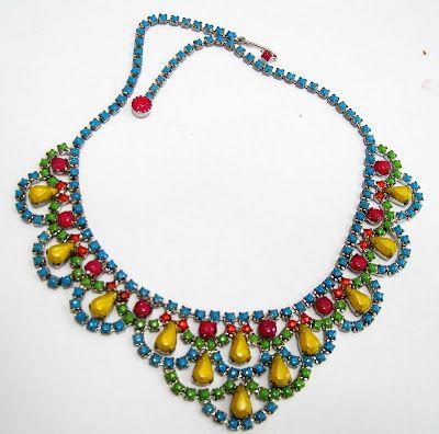 Neon Painted Vintage Rhinestone Necklace - Tutorial on Bonnin Designs Blog
