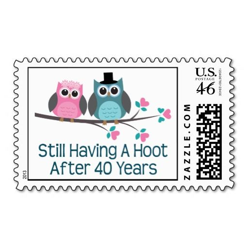 Wedding Gift For 40th : Gift For 40th Wedding Anniversary Hoot Postage Stamps