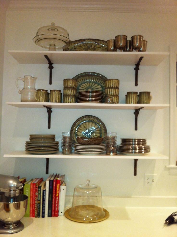 open kitchen shelves brackets pottery for the home pinterest. Black Bedroom Furniture Sets. Home Design Ideas