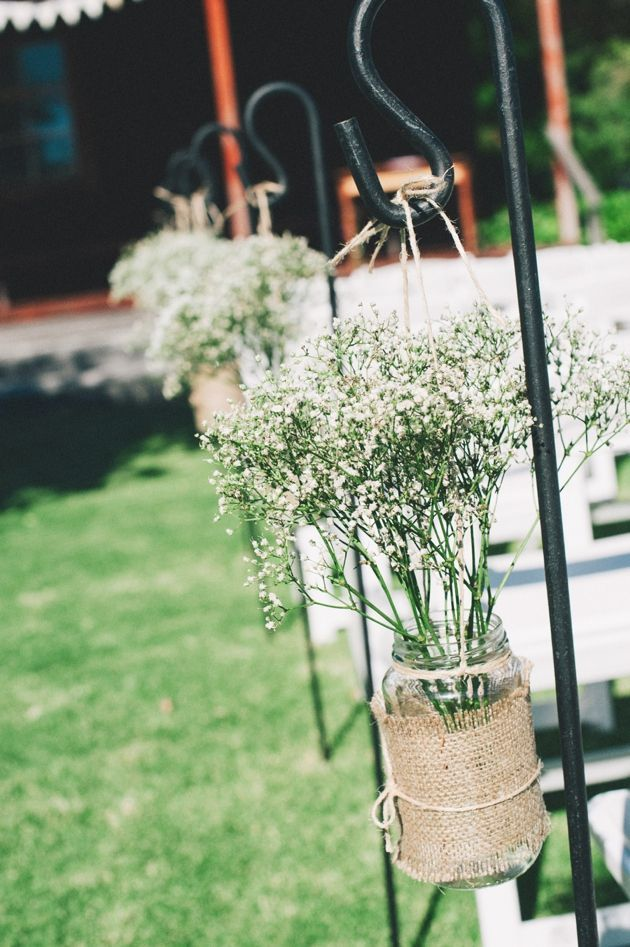 Rustic Outdoor Wedding Aisle Ideas  Baby?s Breath aisle decoration