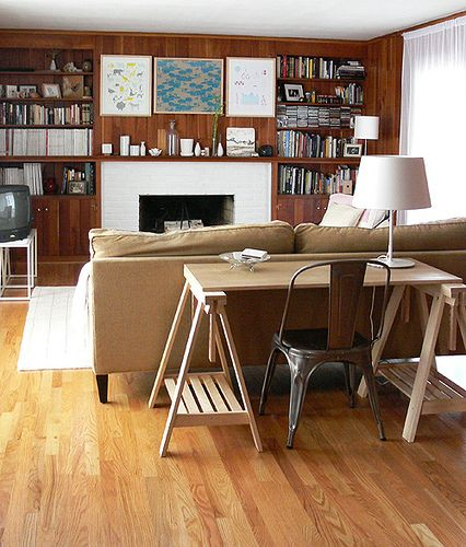 desk behind the sofa Wood Beams and Panneling