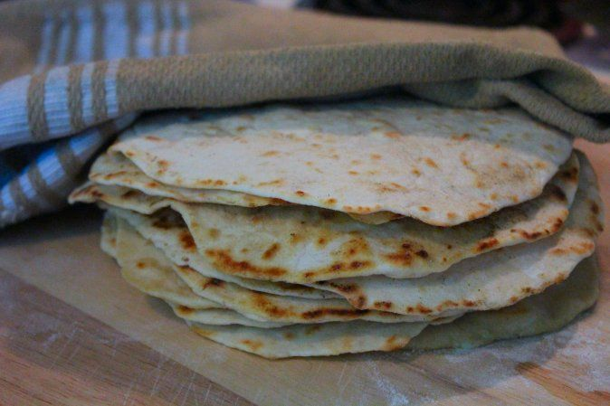 Homemade Flour Tortillas made with fresh herbs. Almost any herb will ...