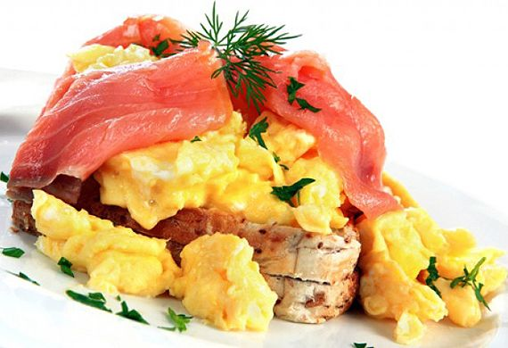 Australian Eggs' scrambled eggs with smoked salmon and dill butter