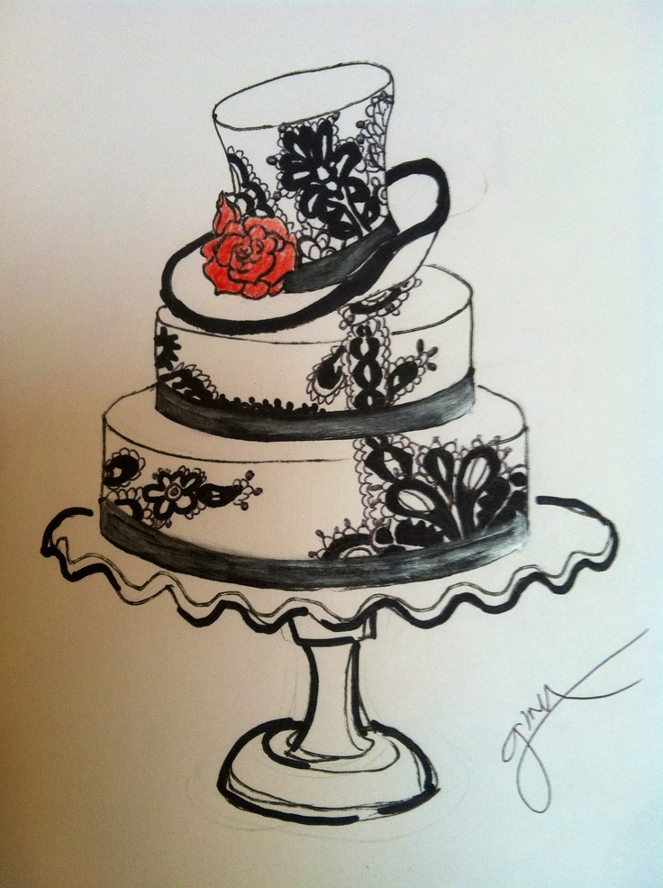 Black and White Wedding Cake Sketch Cake Design Pinterest