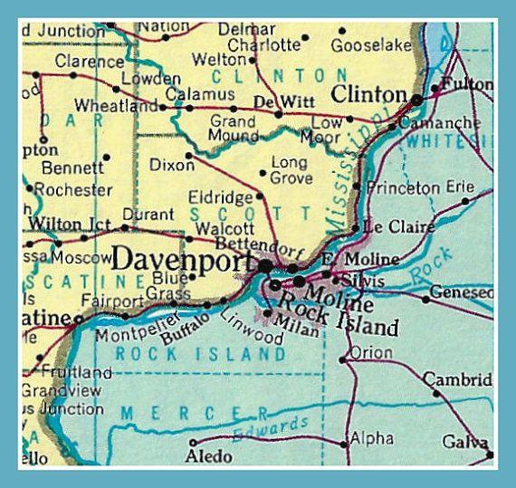 Fridge Magnet Map Of Davenport Iowa And Vicinity Rock