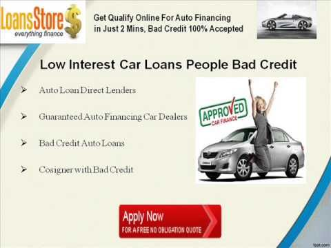 Low Interest Auto Loans for Bad Credit - Can You Get an Auto Loan wit ...