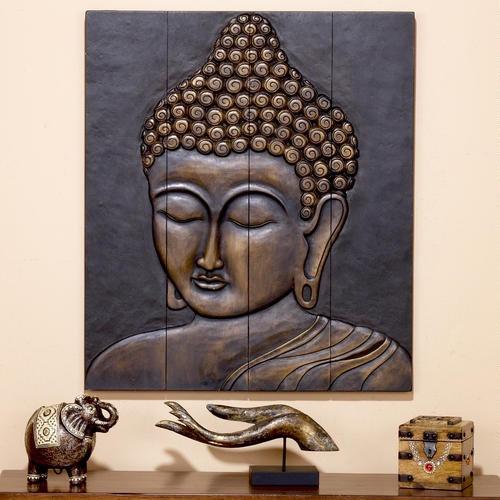 Wood buddha face wall hanging for Buddha wall art