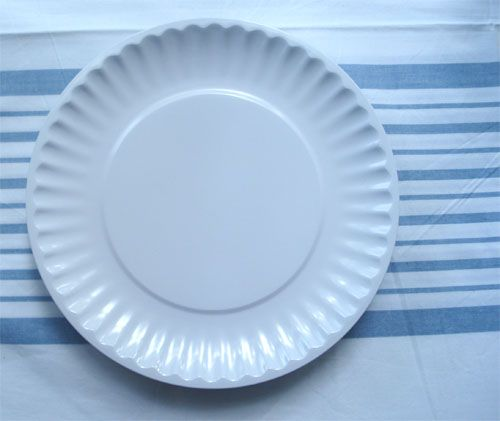 paper plates that look like china Looks like the white disposable paper plates, but ours are made of melamine a hard plastic and it's reusable they look like china.