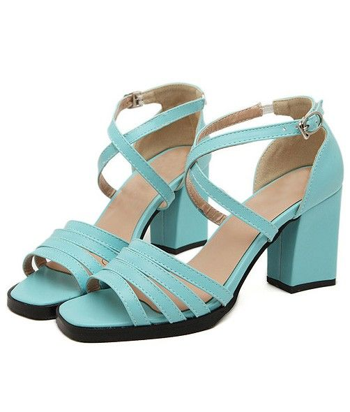 light blue faux leather cutout strappy chunky heels. Black Bedroom Furniture Sets. Home Design Ideas