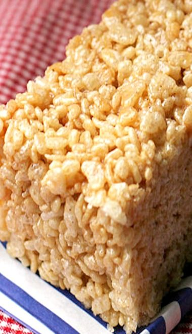 Salted Caramel Brown Butter Rice Krispie Treats | Recipe