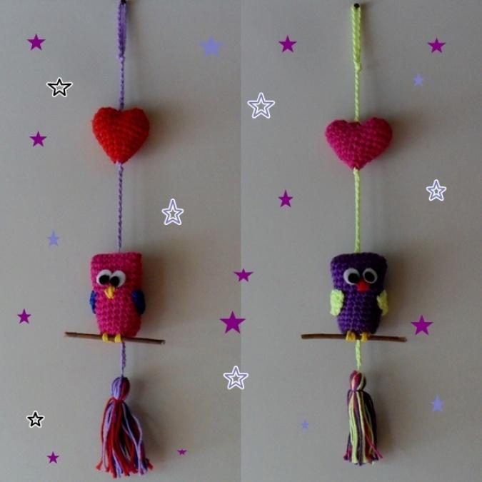 Lechuzas con corazón  tejidas al crochet