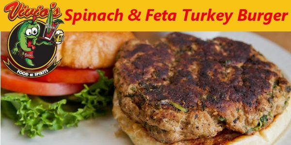 Turkey Burger: Fresh ground turkey with baby spinach and feta cheese ...