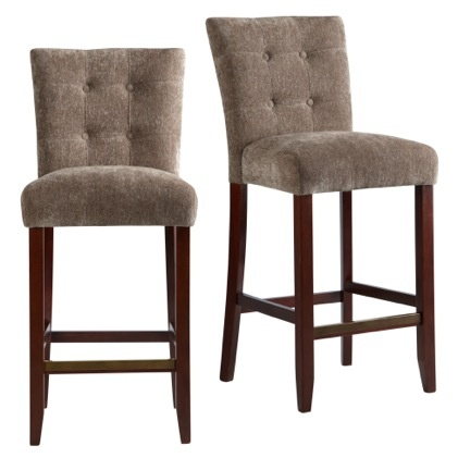Bar stools high style contoured back with button tufting and solid