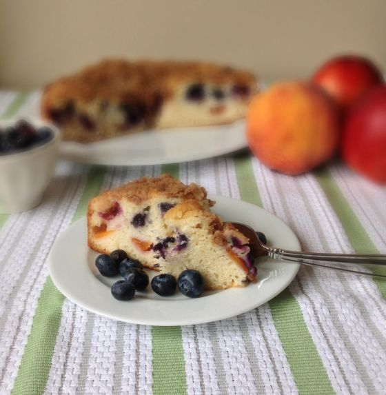 Peachberry Buckle (Peach Blueberry Coffee Cake)
