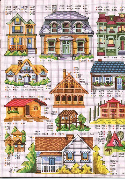Рисунки для вышивки крестом дом