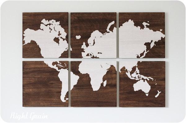 Large World Map Wall Art On Dark Stained Woodgrain Panels