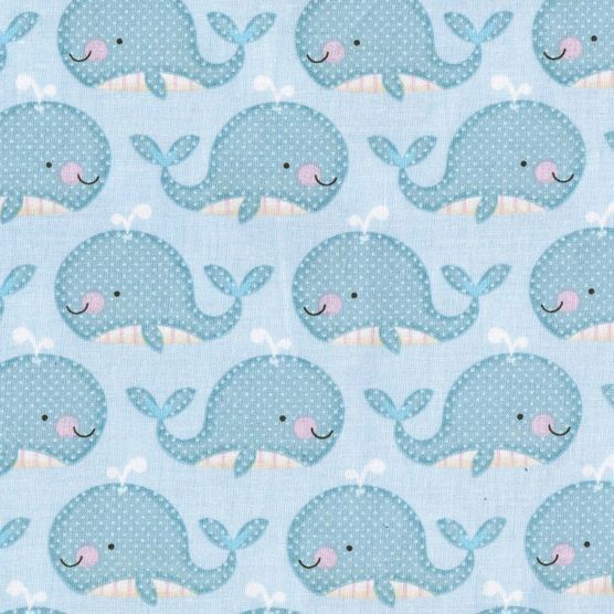 Blue little whales fabric by the yard kids nurset boys for Little blue truck fabric