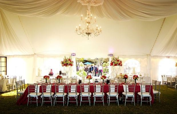 tents provide such elegant settings with flowers and lighting!