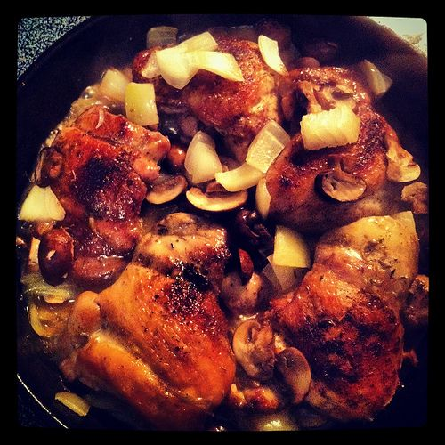 Recipe: Pan-Roasted Chicken Thighs with Mushrooms {Dinner: A Love ...